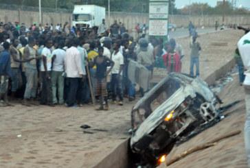 Accident mortel à Ouagarinter : Le véhicule incendié par les riverains