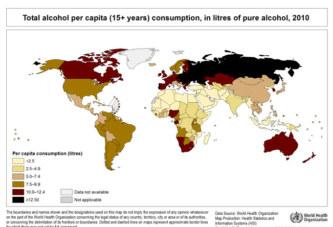 La carte des pays qui boivent le plus d'alcool au monde