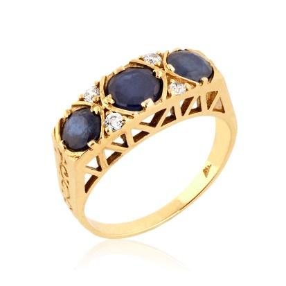 Three Stone Victorian Style Sapphire Ring