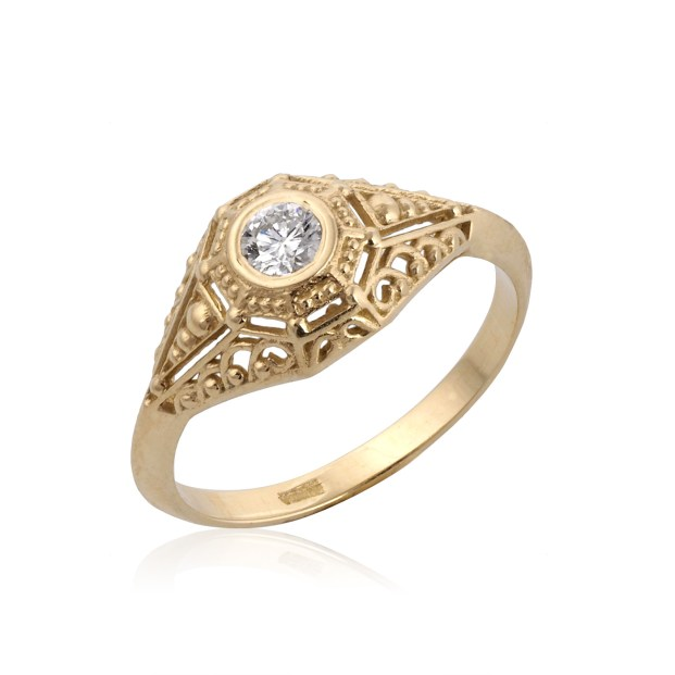 Victorian Bezel Set Diamond Engagement Ring