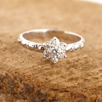 Engraved Floral Diamond Ring