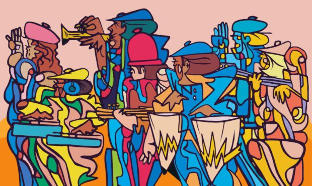 a colorful digital illustration of an abstract series of jazz musicians playing various musical instruments together