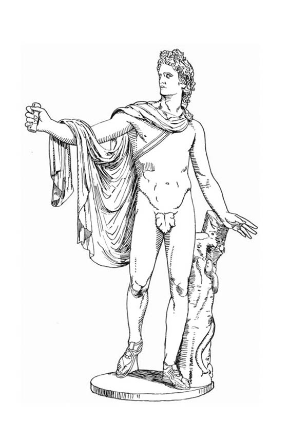Apollo Statue from Greek Gods and Goddesses Coloring Page