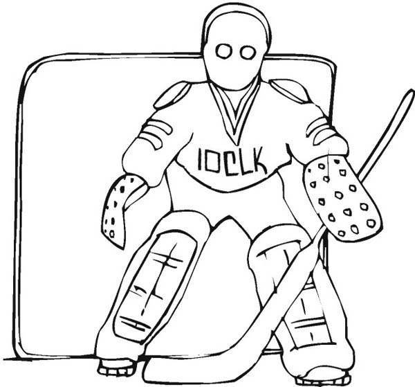Donald Duck As A Hockey Goal Keeper Coloring Pages