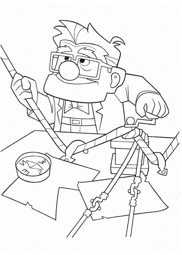 Carl Fredricksen Setting Rope for Adventure in Disney Up