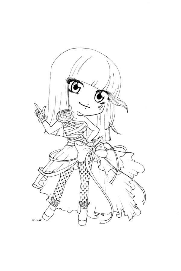 Cute Lady Gaga Chibi Drawing Coloring Page NetArt