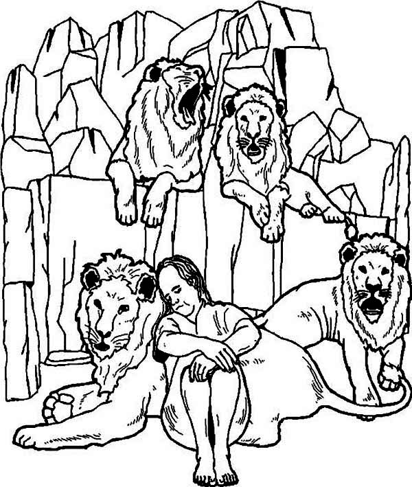 daniel is sleeping in daniel and the lions den coloring