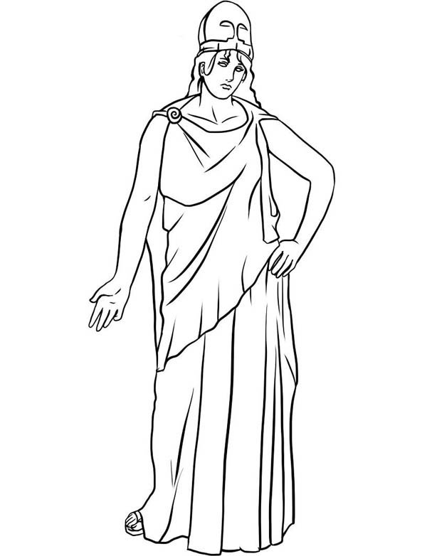 Drawing of Athena ffrom Greek Gods and Goddesses Coloring