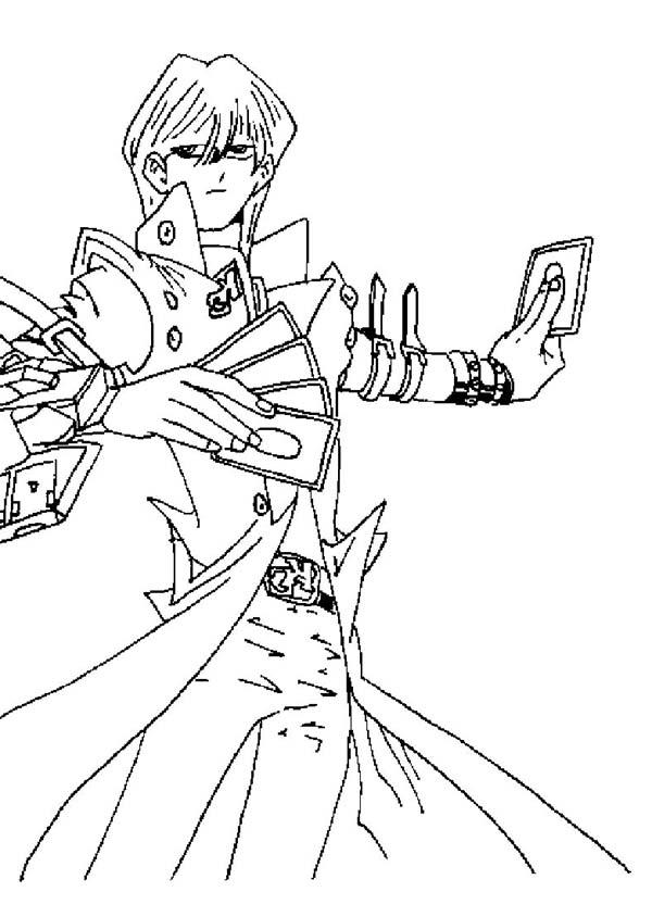 Seto Kaiba Powerful Card In Yu Gi Oh Coloring Page NetArt
