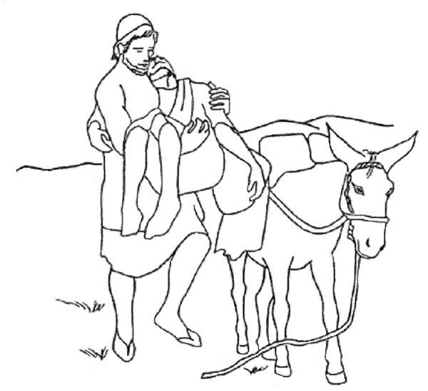 Good Samaritan Put Injured a Traveller on Donkey Coloring