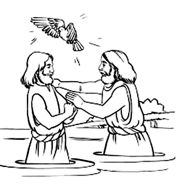 Holy Spirit Blessing Jesus Baptism in John the Baptist