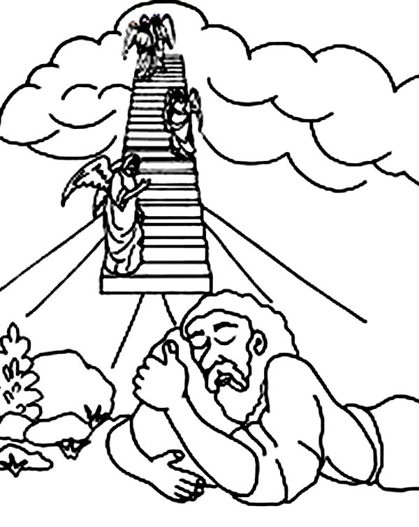 Jacobs Ladder and Three Angels in Jacob and Esau Coloring