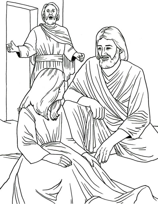 Jesus Heals Jairus Daughter in Miracles of Jesus Coloring