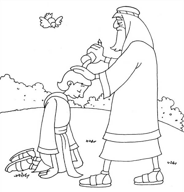 Samuel Anointing David in the Story of King Saul Coloring