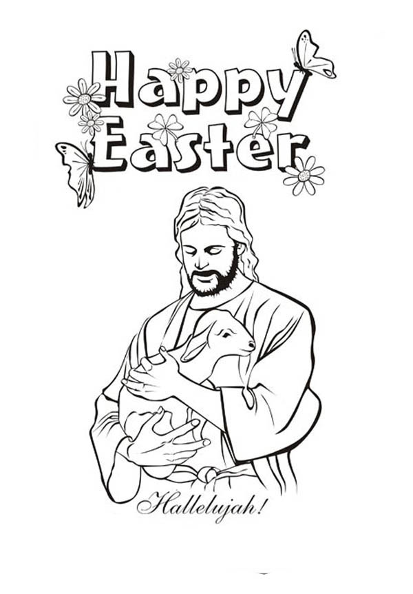 Jesus Christ and Lamb in Jesus Resurrection Coloring Page