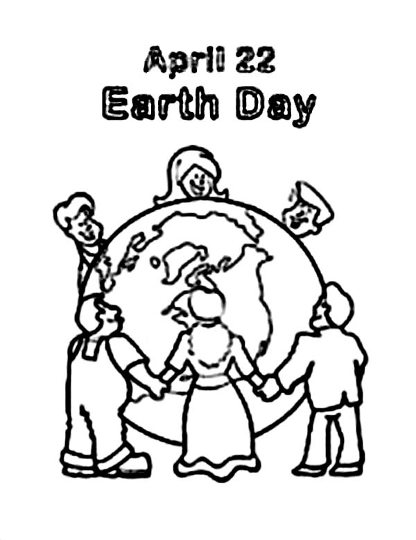 Peoples Around the World Celebrating Earth Day Coloring