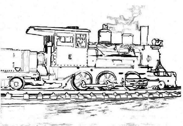 Train Steam Locomotive Parts Diagram Sketch Coloring Page