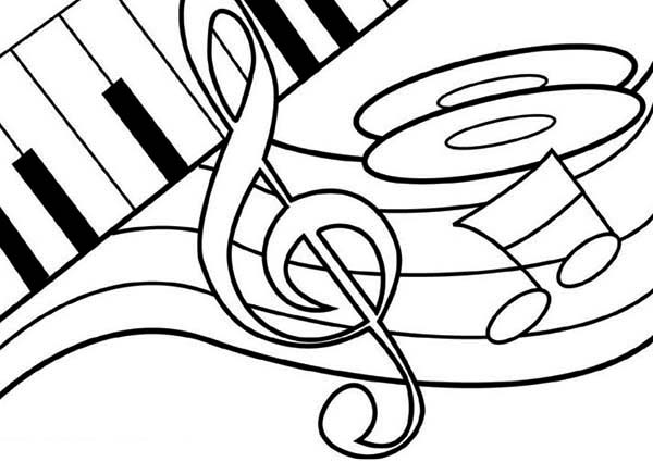 treble clef dancing on a piano coloring page  netart