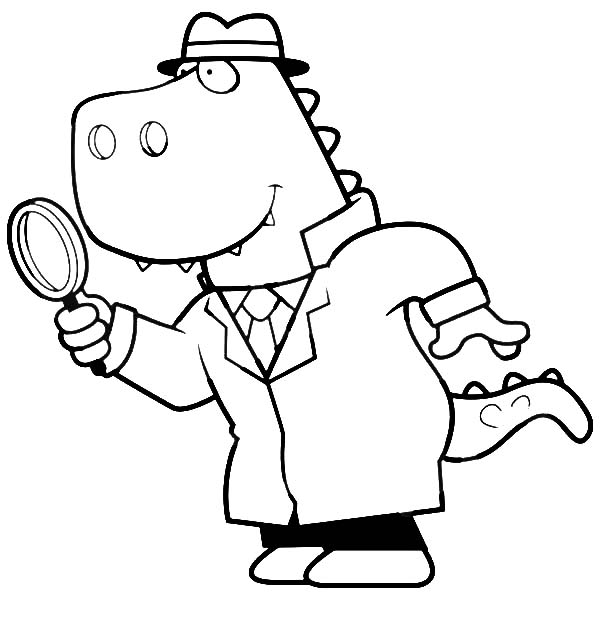 Cartoon of a T Rex Detective Using a Magnifying Glass