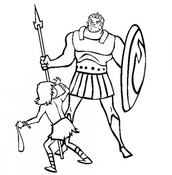 Depiction of David versus Goliath in the Bible Heroes