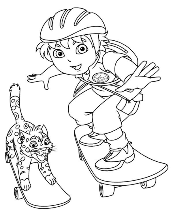 Diego Skating with Baby Jaguar in Go Diego Go Coloring
