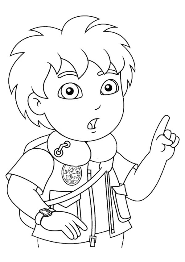 diego suddenly remember something in go diego go coloring