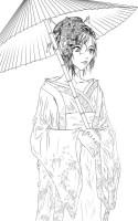 Geisha Coloring Page for Kids   NetArt