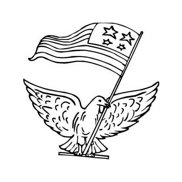 A Pigeon with US Flag Celebrating Veterans Day Coloring