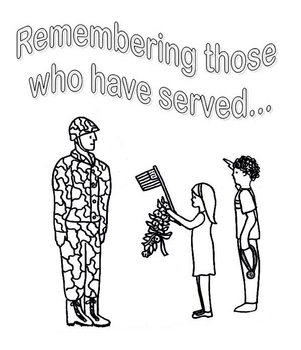 Little Kids Celebrating Veterans Day by Giving Flowers and