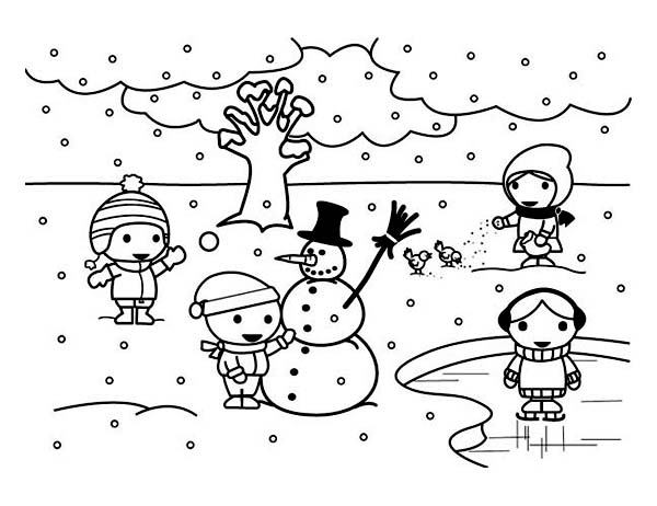 Curious George Winter Coloring Page