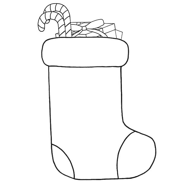 Drawing Christmas Stockings Fill with Candy Cane Coloring