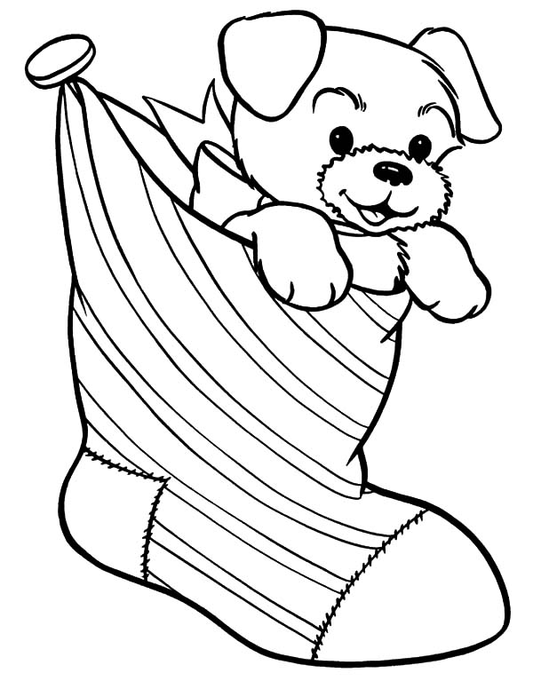 Puppy for Present in Christmas Stockings Coloring Pages