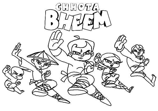 Chota Bheem and Friends Fighting Stance Coloring Pages