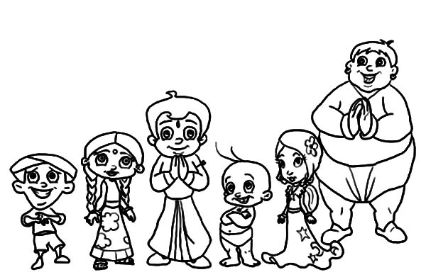 Chota Bheem And Friends Coloring Pages
