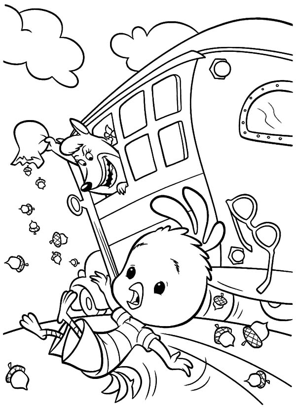 Foxy Loxy Throw Chicken Little Out of School Bus Coloring