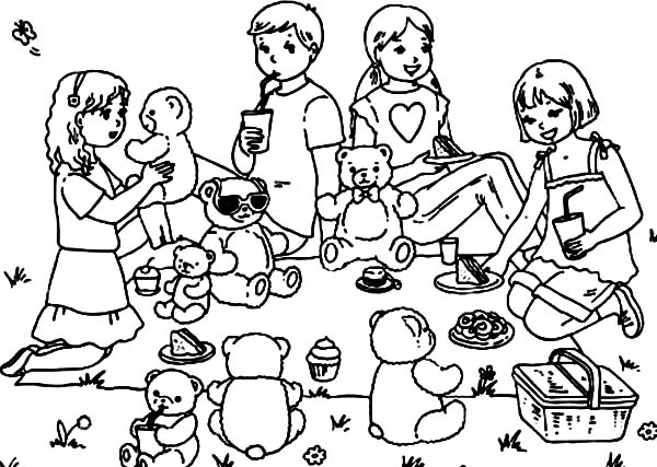 Group of Kid and Their Teddy Bear Family Picnic Coloring