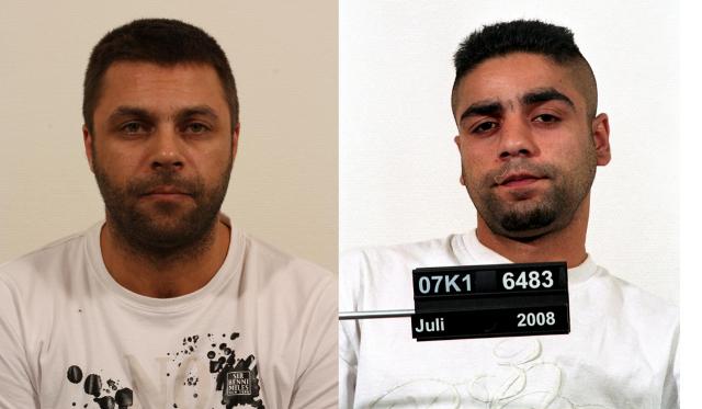 Tonni Turan (venstre) og Vahid Malakhi (højre) efterlyses af Københavns Vestegns Politi. Foto: Politiet.