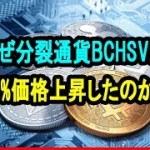仮想通貨ビットコインキャッシュ最新状況|なぜ分裂通貨BCHSVが50%価格上昇したのか?
