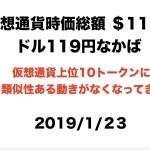 2019/1/23 仮想通貨時価総額 $119B EOS,BCHABC,Litecoin,TRON,Caldano が違う動き