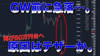 仮想通貨再び急落、GW前に60万円を切る展開へ。原因はテザーか。。。