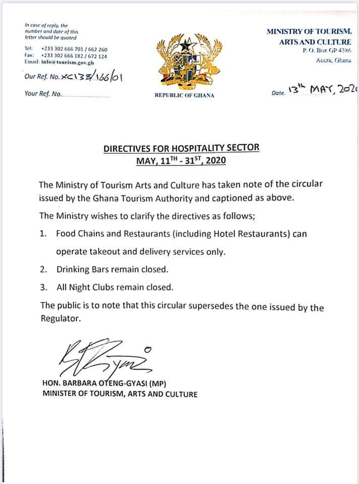 Ghana Tourism Authority eases restrictions for hotels and restaurants
