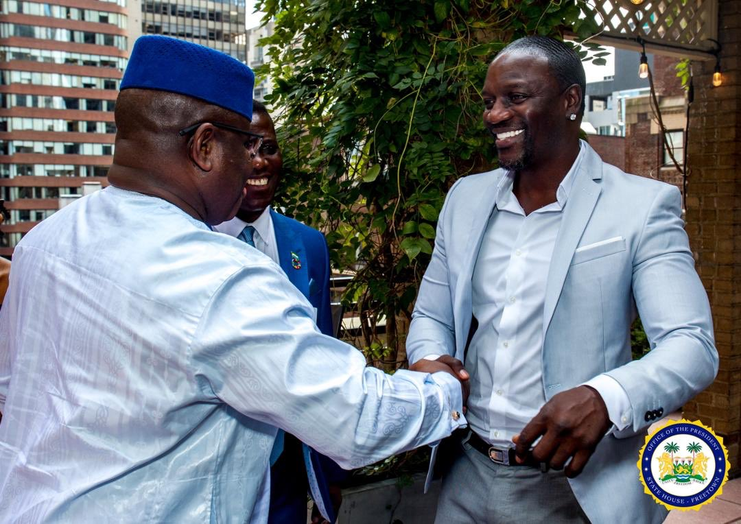 Akon support Sierra Leone's president with 7500 solar and traffic lights