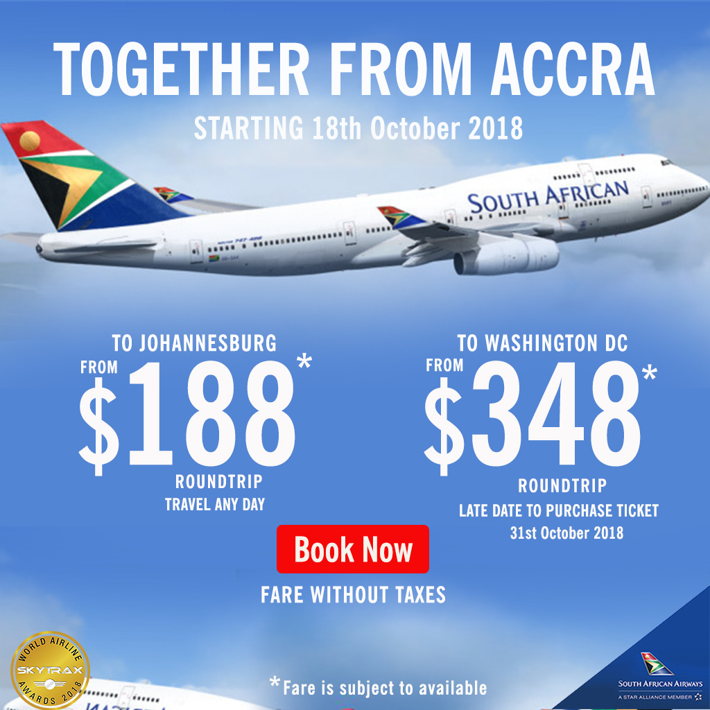 Fly SAA from Accra to Johannesburg for as low as $188