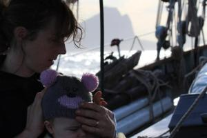Couple sailing the world with a baby