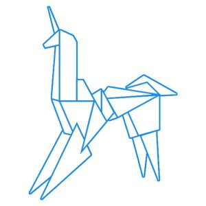 web designer developer techno unicorn (origami Bladerunner unicorn)