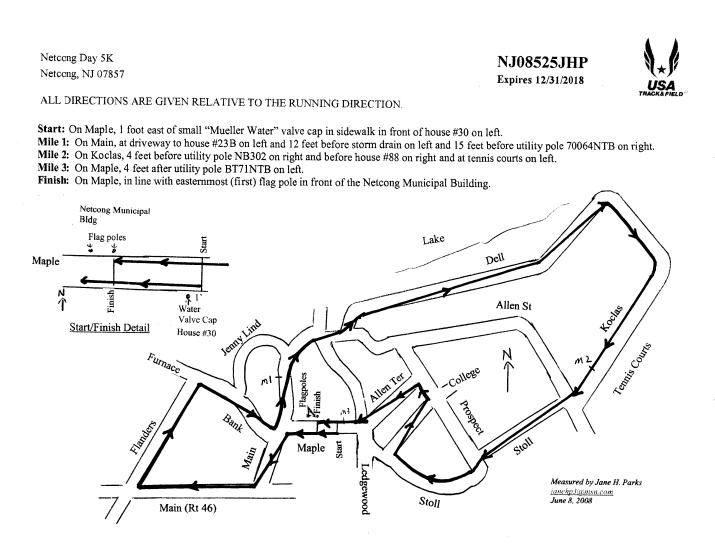 Netcong Day 5k Race Map
