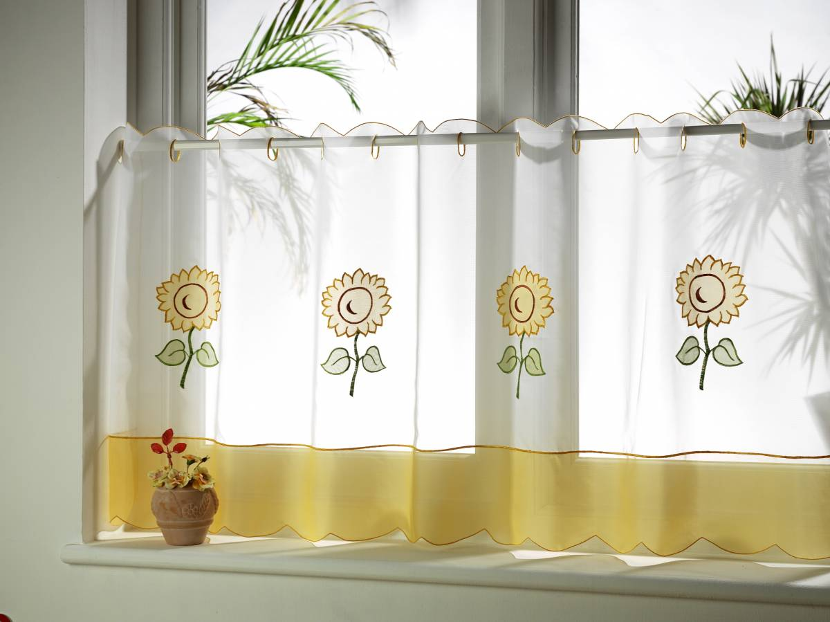 Ideas Para Cortinas De Cocina Sunflower Cafe Curtain Voile Panels Net Curtain 2 Curtains