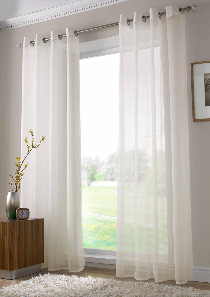 IVORY PLAIN VOILE EYELET RINGTOP150CM  Net Curtain 2 Curtains