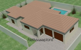 Tuscan style 3 bedroom house plan - single storey floor plans - NETHOUSEPLANS