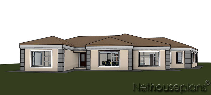5 bedroom house plan single storey house design for Single story 4 bedroom modern house plans